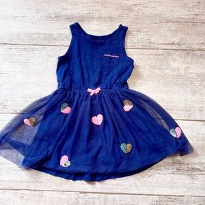 NAVY BLUE 4T Carter's heart sequin dress